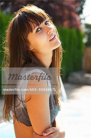Woman by Pool, Vancouver, Washington, USA Stock Photo - Premium Royalty-Free, Image code: 600-05524071