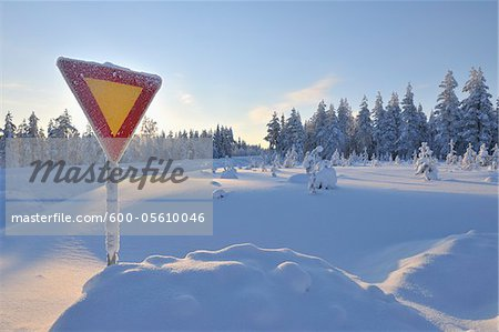 Yield Sign in Snow, Kuusamo, Northern Ostrobothnia, Finland Stock Photo - Premium Royalty-Free, Image code: 600-05610046