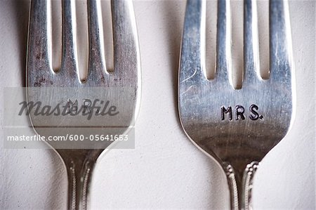 Close-up of Mr. and Mrs. Forks at Wedding, Muskoka, Ontario, Canada Stock Photo - Premium Royalty-Free, Image code: 600-05641653