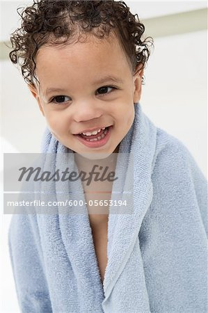 Boy Wrapped in Towel After Bath Stock Photo - Premium Royalty-Free, Image code: 600-05653194
