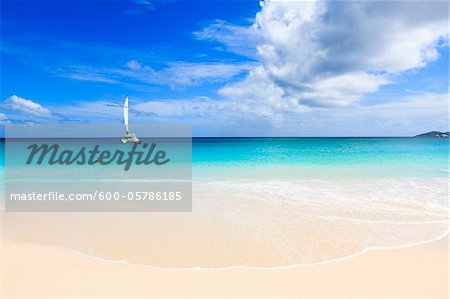 Catamaran on Indian Ocean at Anse Georgette, Praslin Island, Seychelles Stock Photo - Premium Royalty-Free, Image code: 600-05786185