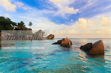 Granite Rock Formations, Anse Source d'Argent, La Digue, Seychelles Stock Photo - Premium Royalty-Free, Image code: 600-05786192