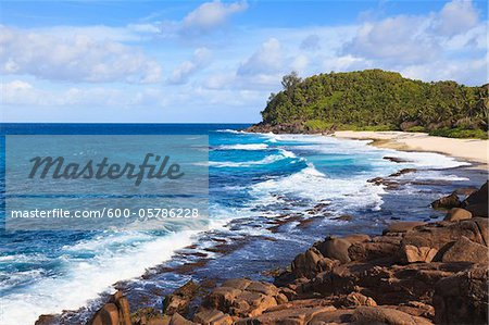 Waves Rolling in at Police Bay, Mahe, Seychelles Stock Photo - Premium Royalty-Free, Image code: 600-05786228
