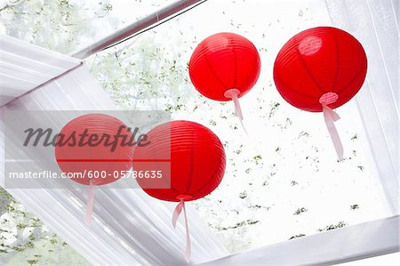 Paper Lanterns at Wedding Stock Photo - Premium Royalty-Free, Image code: 600-05786635