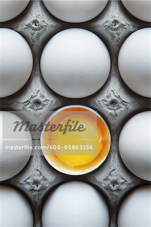 Eggs in Carton with One Broken Shell Stock Photo - Premium Royalty-Free, Image code: 600-05803156
