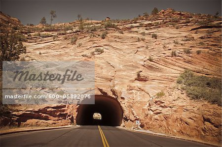 Tunnel near East Entrance, Zion National Park, Utah, USA Stock Photo - Premium Royalty-Free, Image code: 600-05822076