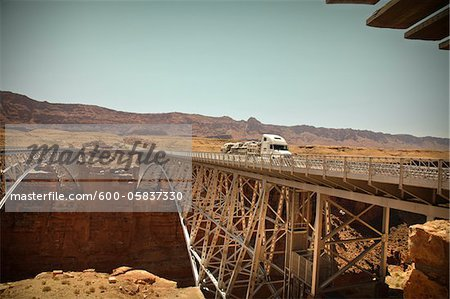 Navajo Bridge crossing over the Colorado River's Marble Canyon near Lee's Ferry, Arizona, USA Stock Photo - Premium Royalty-Free, Image code: 600-05837330