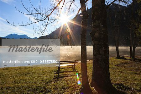 Bench by Lake Hintersee, Bavaria, Germany Stock Photo - Premium Royalty-Free, Image code: 600-05837550