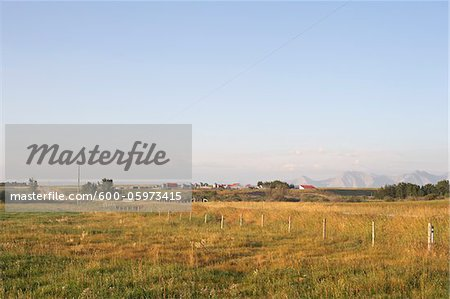 Prairie Farm and Fields, Rocky Mountains in Distance, Utopia Farm, Pincher Creek, Alberta, Canada Stock Photo - Premium Royalty-Free, Image code: 600-05973415