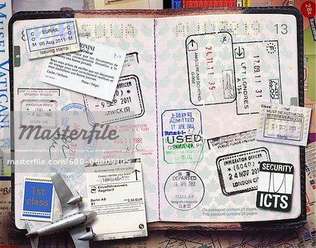 Passport with Stamps Stock Photo - Premium Royalty-Free, Image code: 600-06009105