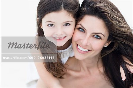 Portrait of Mother and Daughter at Beach, Florida, USA Stock Photo - Premium Royalty-Free, Image code: 600-06038148