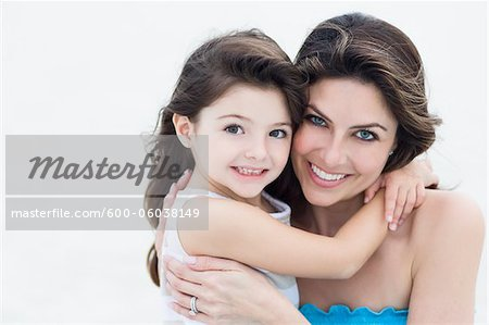 Portrait of Mother and Daughter at Beach, Florida, USA Stock Photo - Premium Royalty-Free, Image code: 600-06038149