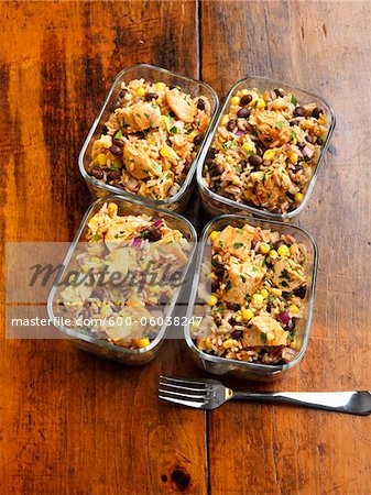 Individual Servings of Chicken Casserole in Reuseable Glass Containers Stock Photo - Premium Royalty-Free, Image code: 600-06038247