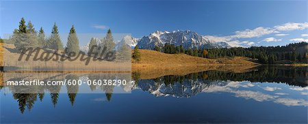 Wildensee with Karwendel Mountains in Autumn, Mittenwald, Garmisch-Partenkirchen, Upper Bavaria, Bavaria, Germany Stock Photo - Premium Royalty-Free, Image code: 600-06038290
