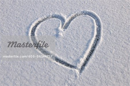Heart in Snow, Odenwald, Hesse, Germany Stock Photo - Premium Royalty-Free, Image code: 600-06144757