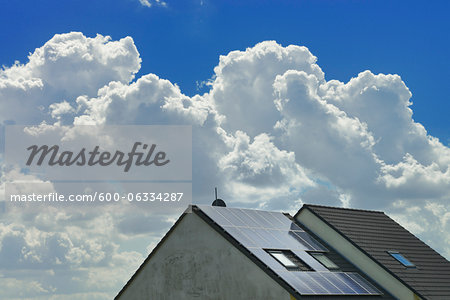 Solar Panels on House Rooftop, Hesse, Germany Stock Photo - Premium Royalty-Free, Image code: 600-06334287