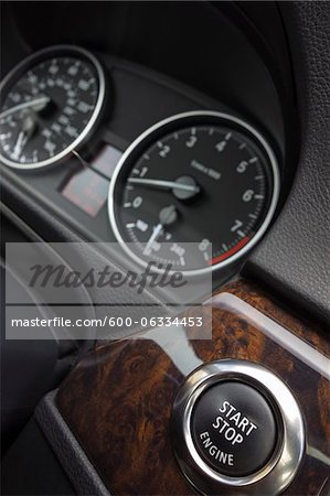 Close-up of Car Dashboard with Start Button Stock Photo - Premium Royalty-Free, Image code: 600-06334453