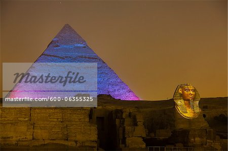 Pyramid of Khafre and Sphinx, Giza Plateau, Giza, Egypt Stock Photo - Premium Royalty-Free, Image code: 600-06355325