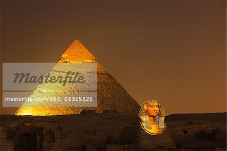 Pyramid of Khafre and Sphinx, Giza Plateau, Giza, Egypt Stock Photo - Premium Royalty-Free, Image code: 600-06355326
