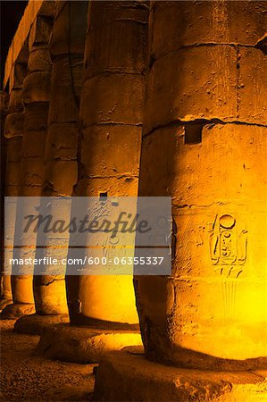 Hieroglyphs on Columns, Luxor Temple, Luxor, Egypt Stock Photo - Premium Royalty-Free, Image code: 600-06355337