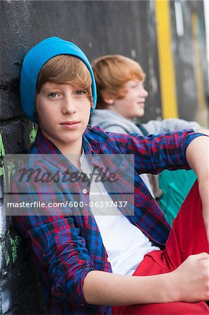 Portrait of Boys Outdoors, Mannheim, Baden-Wurttemberg, Germany Stock Photo - Premium Royalty-Free, Image code: 600-06397437