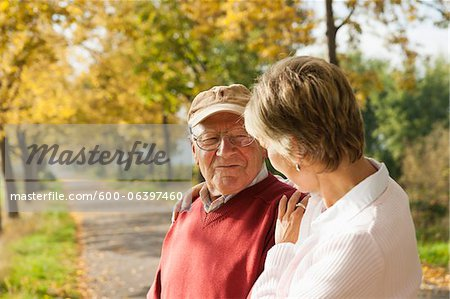 Mature Woman with Senior Father in Autumn, Lampertheim, Hesse, Germany Stock Photo - Premium Royalty-Free, Image code: 600-06397460
