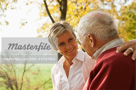 Mature Woman with Senior Father in Autumn, Lampertheim, Hesse, Germany Stock Photo - Premium Royalty-Free, Image code: 600-06397463