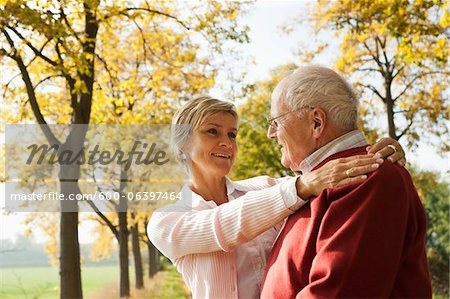 Mature Woman with Senior Father in Autumn, Lampertheim, Hesse, Germany Stock Photo - Premium Royalty-Free, Image code: 600-06397464