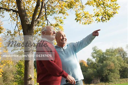 Senior Men Outdoors in Autumn, Lampertheim, Hesse, Germany Stock Photo - Premium Royalty-Free, Image code: 600-06397475