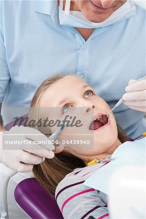 Dentist Checking Girl's Teeth at Appointment, Germany Stock Photo - Premium Royalty-Free, Image code: 600-06438940