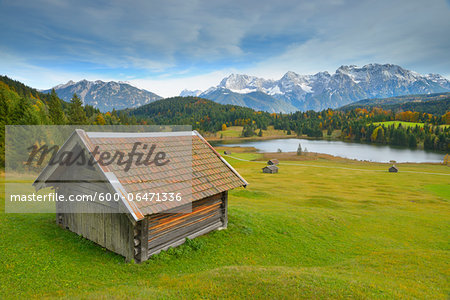 Hay Barn, Lake Geroldsee and Karwendel Mountain Range, Werdenfelser Land, Upper Bavaria, Bavaria, Germany Stock Photo - Premium Royalty-Free, Image code: 600-06471336