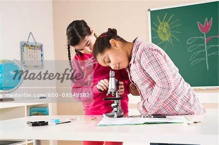 Girls Looking at Flower with Microscope in Classroom, Baden-Wurttemberg, Germany Stock Photo - Premium Royalty-Free, Image code: 600-06548582