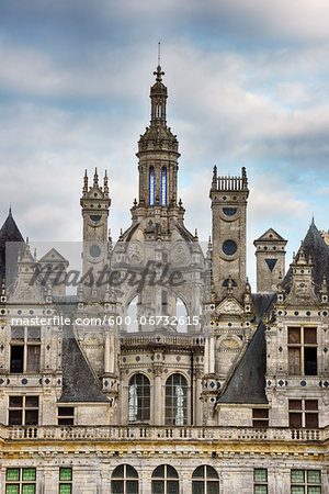 Close up of towers at Chambord Castle (Chateau de Chambord). UNESCO World Heritage Site. Chambord, Loir-et-Cher, Loire Valley, France. Stock Photo - Premium Royalty-Free, Image code: 600-06732615