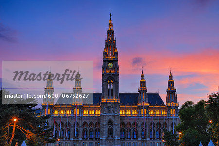Town Hall (Gothic building) at sunset (dusk). Vienna, Austria. Stock Photo - Premium Royalty-Free, Image code: 600-06732627