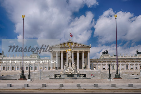 Austrian Parliament and Pallas Athene statue in Vienna. Vienna, Austria. Stock Photo - Premium Royalty-Free, Image code: 600-06732629