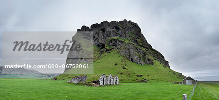 Old Run Down Farm by Rock Outcrop, South Iceland, Iceland Stock Photo - Premium Royalty-Free, Image code: 600-06752061