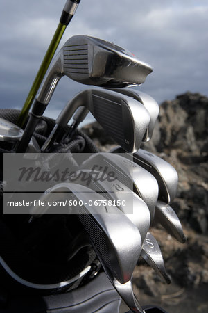 Close-up of Golf Clubs Stock Photo - Premium Royalty-Free, Image code: 600-06758150