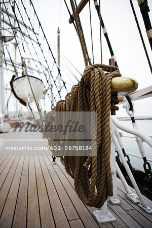 Close-up of Mooring Post on Sailboat Stock Photo - Premium Royalty-Free, Image code: 600-06758184