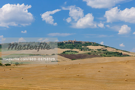Harvested Wheat Fields with Pienza in Background, Val d Orcia, Siena Province, Tuscany, Italy