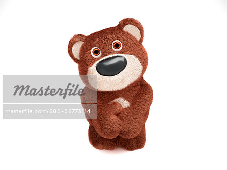Illustration of Shy Teddy Bear on White Background Stock Photo - Premium Royalty-Free, Image code: 600-06773114