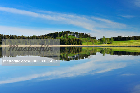 Landscape and Sky Reflecting in Lake, Sameister Weiher, Rosshaupten, Bavaria, Germany Stock Photo - Premium Royalty-Free, Image code: 600-06803883