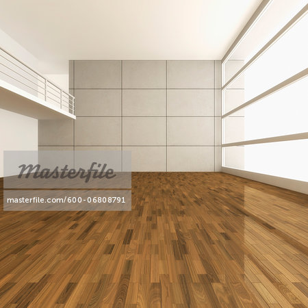 3D-Illustration of Empty Room with Gallery Stock Photo - Premium Royalty-Free, Image code: 600-06808791