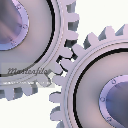 3D-Illustration of Gears on White Background Stock Photo - Premium Royalty-Free, Image code: 600-06936137