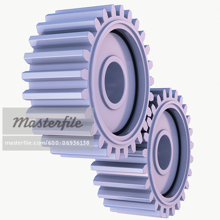 3D-Illustration of Gears on White Background Stock Photo - Premium Royalty-Free, Image code: 600-06936138