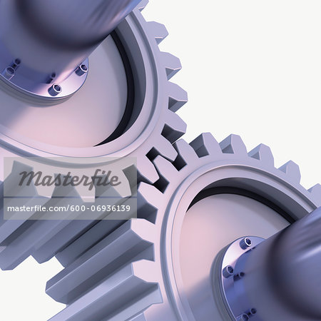 3D-Illustration of Gears on White Background Stock Photo - Premium Royalty-Free, Image code: 600-06936139