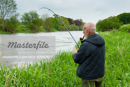 Mount Juliet Estate, Fishing in River Nore, Thomastown, County Kilkenny, Leinster, Republic of Ireland Stock Photo - Premium Royalty-Free, Image code: 600-07067675