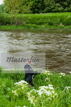 Mount Juliet Estate, Fishing in River Nore, Thomastown, County Kilkenny, Leinster, Republic of Ireland Stock Photo - Premium Royalty-Free, Image code: 600-07067677