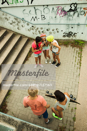 Overhead view of group of children standing on outdoor stairway, Germany Stock Photo - Premium Royalty-Free, Image code: 600-07117163