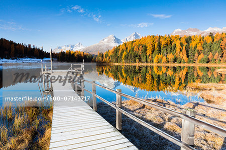 Jetty at Lake Staz with Larch Trees and Snow Covered Piz Nair Reflected in it in Autumn, Canton of Graubunden, Switzerland Stock Photo - Premium Royalty-Free, Image code: 600-07143717