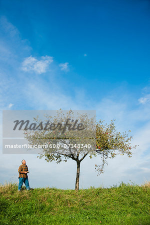 Farmer standing in field, inspecting apple tree, Germany Stock Photo - Premium Royalty-Free, Image code: 600-07148340